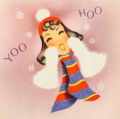 1930's Christmas Card. Vintage Christmas Card. Christmas Girls, Old Fashioned Christmas, Christmas Past, Retro Christmas, Christmas Windows, Christmas Things, Christmas Graphics, Christmas Clipart, Christmas Greetings