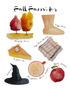 Fall Favorites - originally watercolor art by Danielle Driscoll | Finding Silver Pennies #watercolor #art #stationery #artprints #framedart #newenglandartist #scituateartist #fallwatercolor #fallinspiration