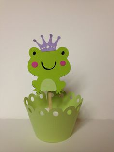 Prince Charming Frog Cupcake Topper by JellyBeanPaper on Etsy, $8.00