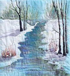 Winter Quiet     Original Landscape Quilt, Watercolor Quilt