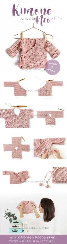 Crochet Kimono for Baby [ Tutorial y Patrón GRATIS ] – Baby knitting patterns Baby Knitting Patterns, Crochet Patterns, Knitting Ideas, Kimono Tutorial, Crochet Tutorial, Motif Kimono, Kimono Pattern, Kimono Crochet, Crochet Bear