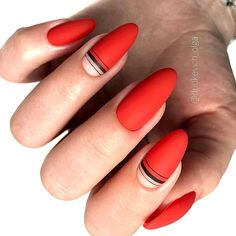 Red Matte Nail Design With Striped Art. #matte Whether long or short, red nails are fabulous, bright and classic at the same time. Shiny or matte, a blood hue works great for coffin, almond nails. #rednails #naildesigns #nailart