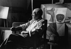 Herbert List photograph Pablo Picasso at his studio / 7 rue des Grands Augustins, Paris, France, 1948 [The large painting behind him is called LA CUISINE (II), painted in November oil on canvas] Herbert List, Pablo Picasso, Moma, Picasso Pictures, Studio Paris, Willy Ronis, Harper's Bazaar, Tate Gallery, Owl Photos