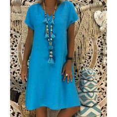New Arrived Linen Solid Dress Women Summer Style Feminino Vestido Cotton Casual V-Neck Plus Size Casual Ladies Loose Dress Size S Color Black Robes Orange, Mode Ab 50, V Neck Dress, Shirt Dress, Robes Midi, Dress Plus Size, Summer Dresses For Women, Ladies Dresses, Women's Summer Fashion