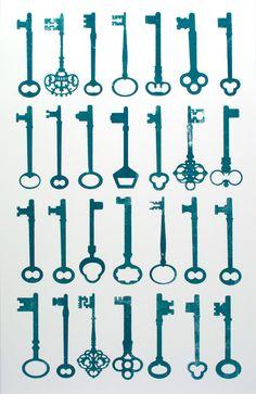 Schlüssel-Silouetten