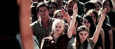 """I love that Gale is like """"Ugh I guess I will raise a salute but I am sick of your shit Katniss. Stop calling me your cousin."""""""
