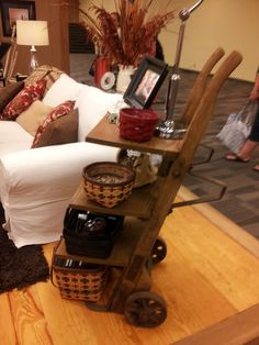 I just think this is so neat ,with using an OLD Hand Cart as a side table ...