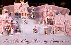 Shabby Pink Chic Christmas House Village Farm French Country Holiday Time