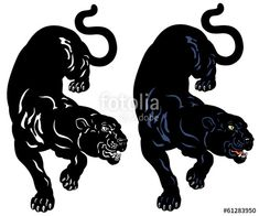 angry black panther . Vector tattoo illustration