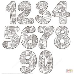 Zentangle Numbers Set 0 9 | Super Coloring
