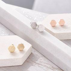I've just found Hexagonal Brushed Finish Earrings. Super stylish hexagon shaped earrings.. £18.00