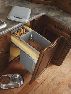 Calling all dog lovers: Say goodbye to bags of dog food sitting out in your kitchen or pantry. With this revolutionary organizer from Schrock, feeding your pet has never been easier.