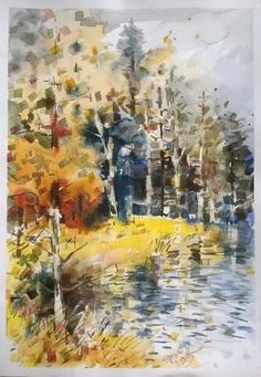 """""""Reflections on the lake."""" by Lorand Sipos #Painting"""