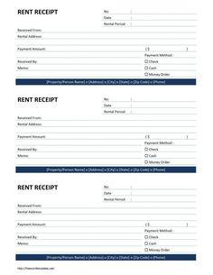Cash Receipt Template For Excel  Rental    Receipt