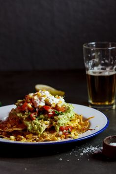 Nachos with grilled corn | simply-delicious-food.com #recipe #vegetarian