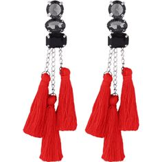 Rhinestone Tassel Chain Earrings Red (340 RSD) ❤ liked on Polyvore featuring jewelry and earrings