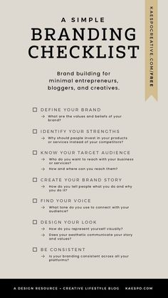 What is a brand and do i need one - free branding checklist by kaespo minimal design. Creative services power marketing strategies not on Branding Your Business, Small Business Marketing, Creative Business, Content Marketing, Creative Marketing Ideas, Facebook Marketing, Social Media Branding, Internet Marketing, Personal Branding Strategy