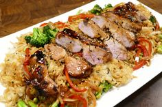 Grilled pork tenderloin with Chinese BBQ Meat Recipes, Asian Recipes, Chicken Recipes, Asian Foods, Yummy Recipes, Recipies, Dessert Recipes, Desserts, Grilled Teriyaki Chicken