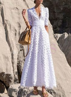 Lace Dresses, Pretty Dresses, Casual Dresses, Fashion Dresses, Summer Dresses, Maxi Dress With Sleeves, Dress Up, Half Sleeves, Elie Saab Printemps
