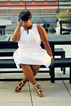 all white plus size curvy outfit summer 2014