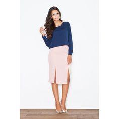 Elegant skirt with slits, PINK Slit Skirt, Bell Sleeve Top, Dresses For Work, Elegant, Skirts, Pink, How To Wear, Tops, Women