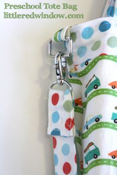 Preschool Tote Bag by Little Red Window, Tutorial for a fully lined child's tote bag with shoulder and cross-body strap! #sewing #tutorial #totebag