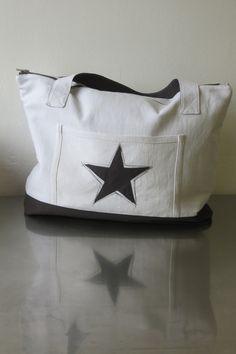 Sac cabas métis blanc et coton anthracite motif étoile