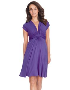 Super soft and flowing, this little purple maternity dress is designed to flatter your figure before, during and after pregnancy!
