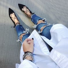 baggy shirt, distressed ripped jeans, black lace up flats - From Where I Stand