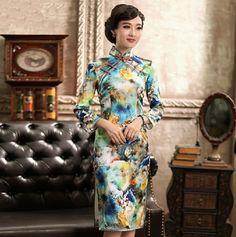 Autumn Floral Silk Cheongsam Elegant Ladies Knee Length Chinese Qipao Dress