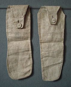 Man's Pockets ? c 1800 Most unusual. How were they used?  Description of glazed natural linen,the first with one straight and one curved sid...