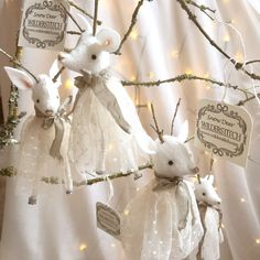 Vintage style Christmas snow deer decoration ready to hang. Each snow deer is approximately tall, (not including antlers) and wears a tulle dress accessorised with an aged, warm grey ribbon. Christmas Decorations, Christmas Ornaments, Holiday Decor, Deer Decor, Grey Ribbon, Warm Grey, Antique Lace, Tulle Dress, Watercolor Illustration