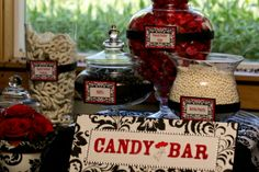 Chick's Candy Buffet :  wedding black candy bar candy buffet damask red white Candy Bar Close Up