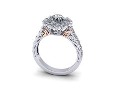 Custom designed engagement ring with bride and groom inititals in rose gold