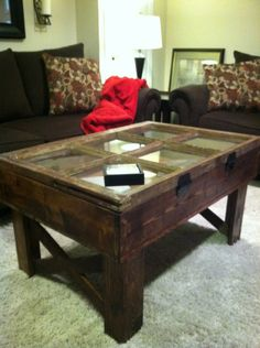 Reclaimed Window Coffee Table With Storage