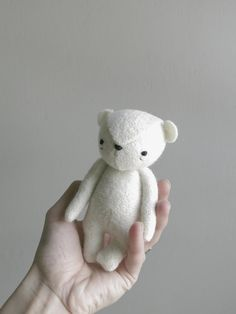 the dear ones. made for little hands and big hearts. handmade from vintage fabrics and wool stuffing with a hand embroidered face. bear is a calm,