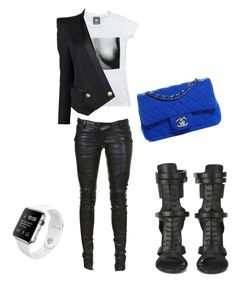 """Untitled #13"" by styledbykita ❤ liked on Polyvore featuring Balmain, BOSS Black and Chanel"