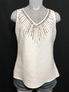 69e5a783474 Saint Tropez West Womens Linen Top Size S White Sleeveless  fashion   clothing  shoes