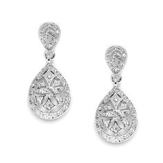 14k Gold Plated Vintage Etched CZ Drop Earrings – Kindred Jewelleria