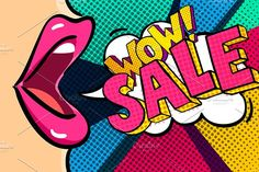 Open mouth and Sale Message in pop art style, promotional background, presentation poster. You will receive ZIP file included: - 1 file - 1 JPEG Posters Vintage, Pop Art Posters, Pop Art Party, Farmasi Cosmetics, Pop Art Design, Flat Design, Logo Design, Pop Art Fashion, Pop Art Wallpaper