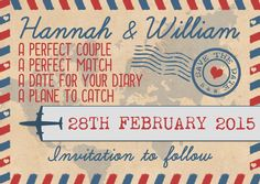 Airmail Save the Date  #airmailweddingstationery #savethedate  Airmail Wedding Stationery designed by Swoon At The Moon