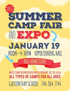 Get ready for summer! The only camp fair in our area...Jan. 19...meet camp reps from all over...and IT'S FREE!