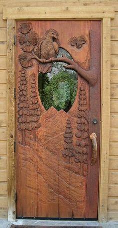 Beautiful log cabin door