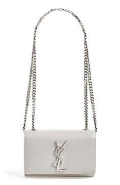 SAINT LAURENT 'Small Monogram' Leather Crossbody Bag. #saintlaurent #bags #shoulder bags #leather #crossbody #lining