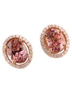 14K ROSE GOLD LOTUS GARNET/DIAMOND EARRINGS