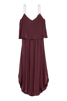 Satin dress: Calf-length satin dress with narrow shoulder straps, a wide flounce at the top, an opening with a button at the back, an elasticated seam at the waist and a rounded hem.