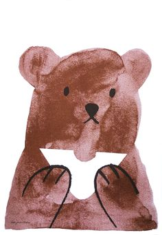 print by Lisa Jones, bear, illustration, childrens, drawing, painting, ink, picnic, cute