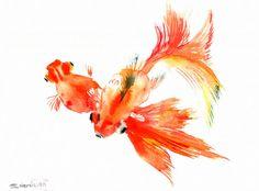 Goldfish Watercolor Paintings | Goldfish, Original watercolor painting, Chinese Style watercolor art ...