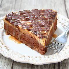A No-Bake Chocolate Mousse and Peanut Butter Mousse cake with Salted Caramel Sauce.
