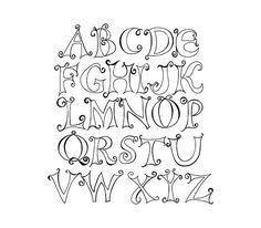 Doodle Capital Letter Alphabet Digital Clipart Alphabet A, Alphabet Police, Doodle Alphabet, Hand Lettering Alphabet, Calligraphy Letters, Hand Drawn Lettering, Graffiti Alphabet, Islamic Calligraphy, Caligraphy